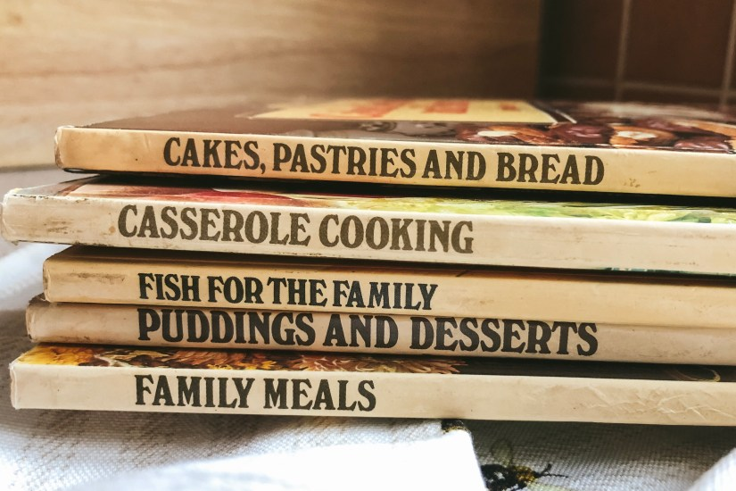 5 spines of vintage M&S cookery books