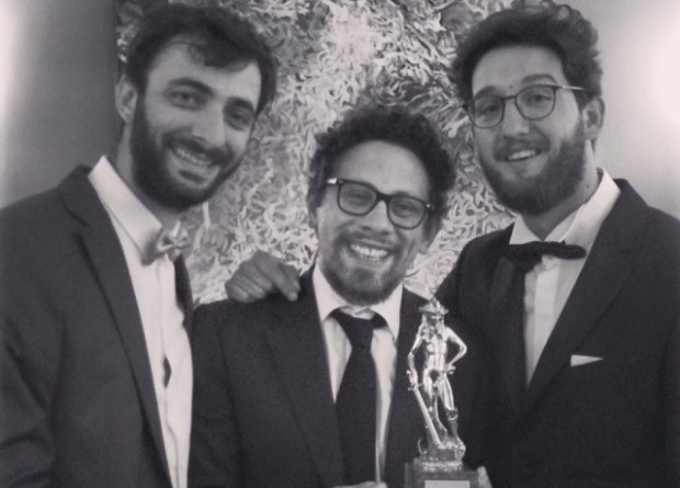 Basilicata filmmakers Angelo Troiano, Sergio Ragone and Giuseppe Marco Albano with their David di Donatello Award.
