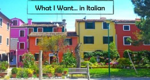 Colorful houses from the island of Burano outside of Venice with park bench out front for Conversational Italian