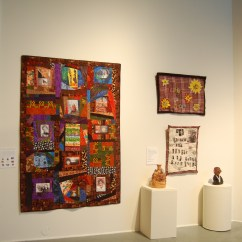 """Quilt celebrating women of color with disabilities by Corbett OToole and """"I have a Dream"""" quilts and ceramics by Raven Harper, from NIAD"""