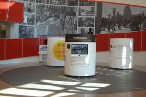 Intro stations in the Rotunda at the Ed Roberts Campus features a short captioned video