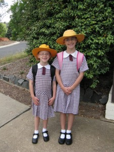 Meg and Holly on first day of school 2010