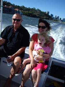 On Adas's Boat, on the Swan River with Justin in the drivers seat.