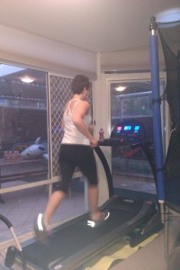 Fran on the treadmill