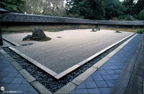 Complex view of Ryoan-ji Zen garden, Kyoto, Japan