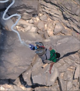 Bungee jumping from Victoria Falls bridge, Zambia