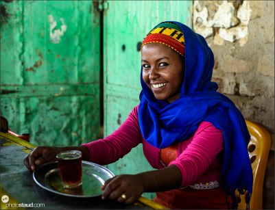 Tea lady in Dogola, Sudan