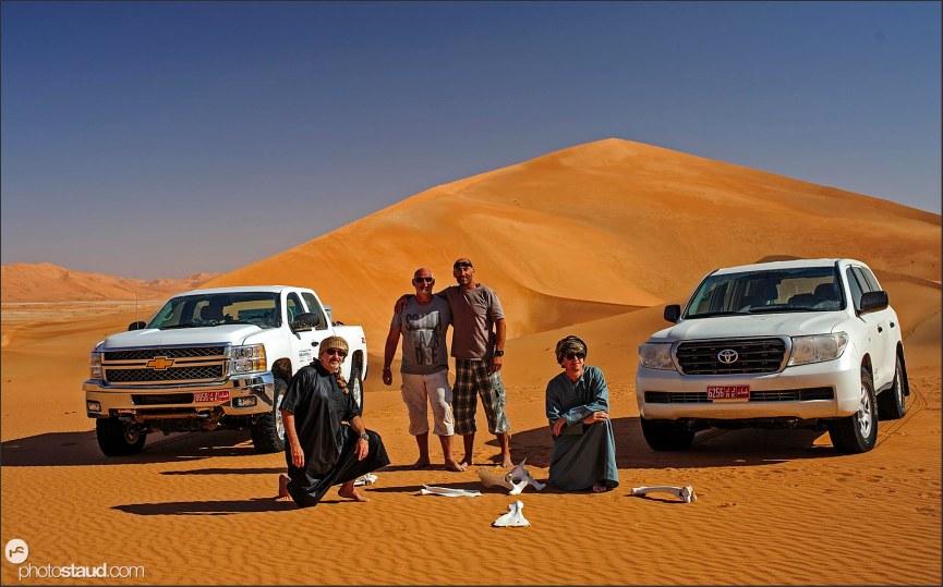 Jirka, Stephan, Tomas, Frantisek traveling Empty Quarter, Rub al Khali Desert, Oman