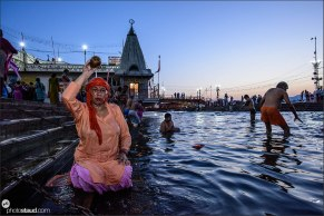 Early morning bath in the Ganga river, Kumbh Mela in Haridwar, India