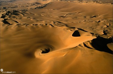 Whirlpool of sand Aerial photograph of the Namib Desert