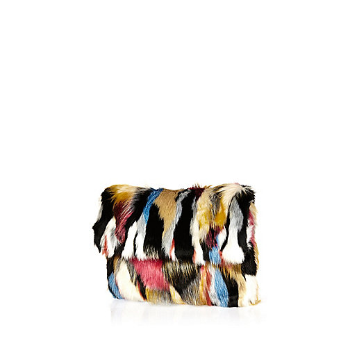 River Island, black patchwork faux fur clutch £35