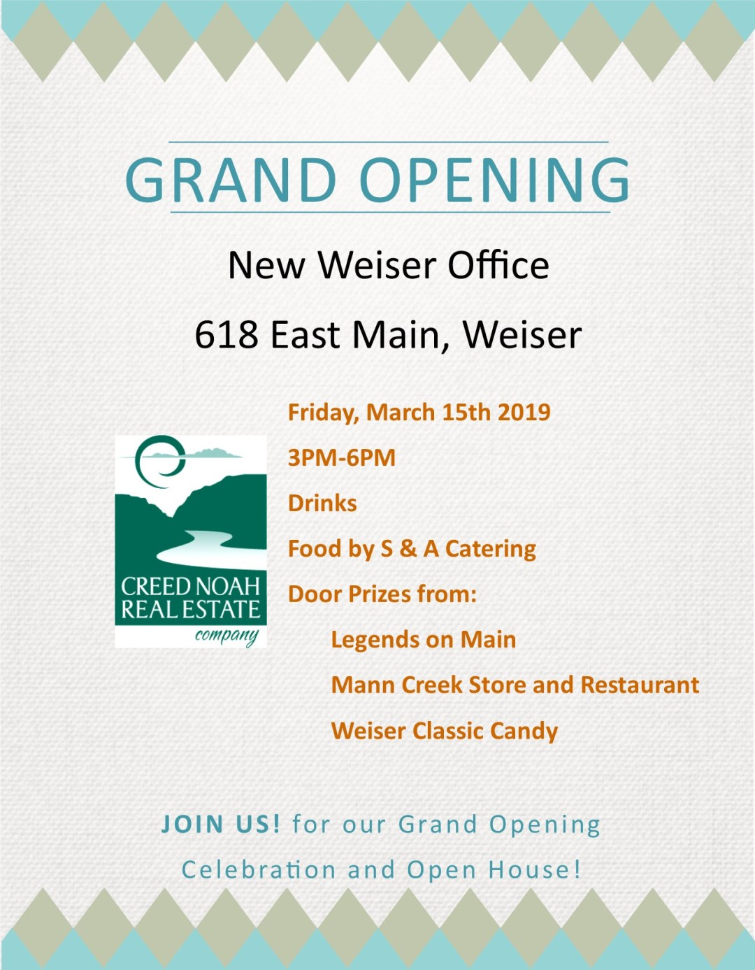 Creed Noah Real Estate Company Grand Opening Flyer
