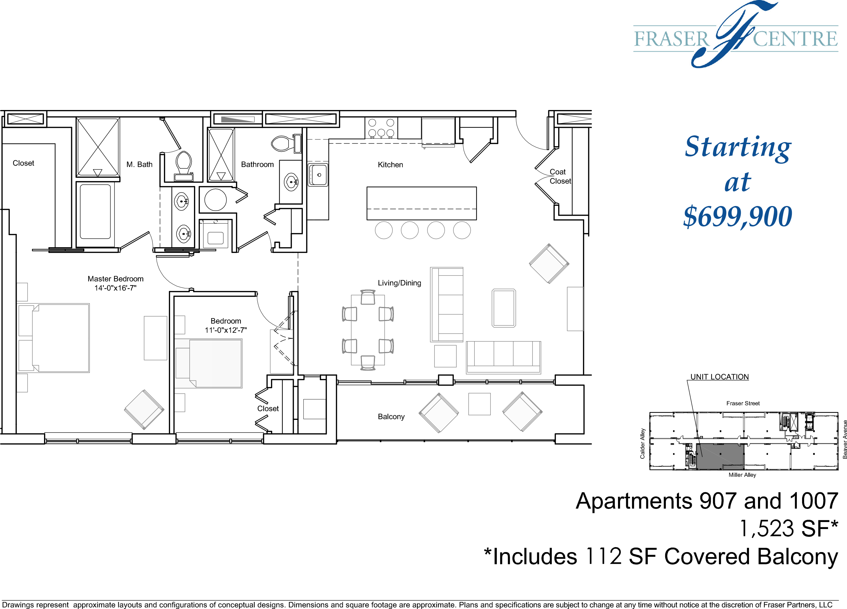 Unit 1007 2br 2ba floor plan views fraser centre for 3br 2ba floor plans