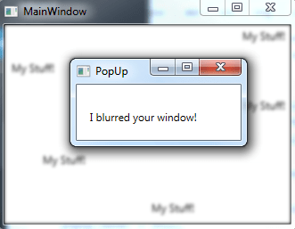 C# GUI – blurring focus on a parent window when using pop-up