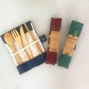 Kit con cubiertos y pajita de bambú reutilizables BAMBAW