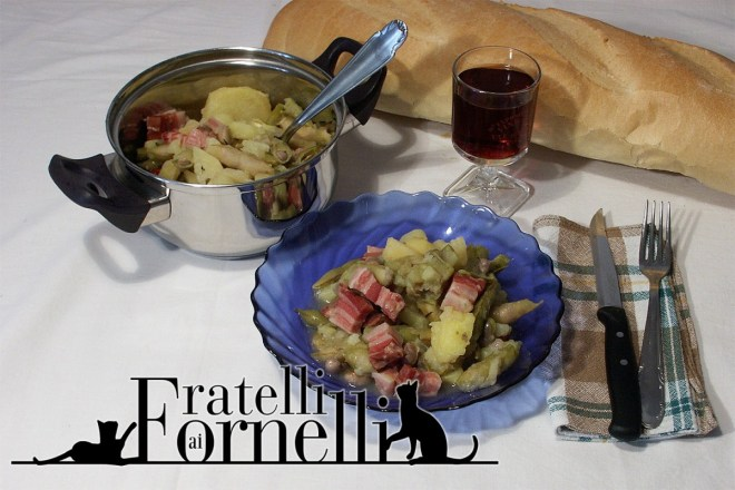 sorca stufato con fagiolini patate pancetta