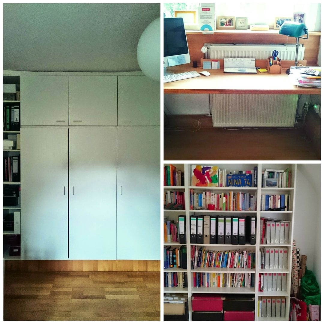 home office vorher collage