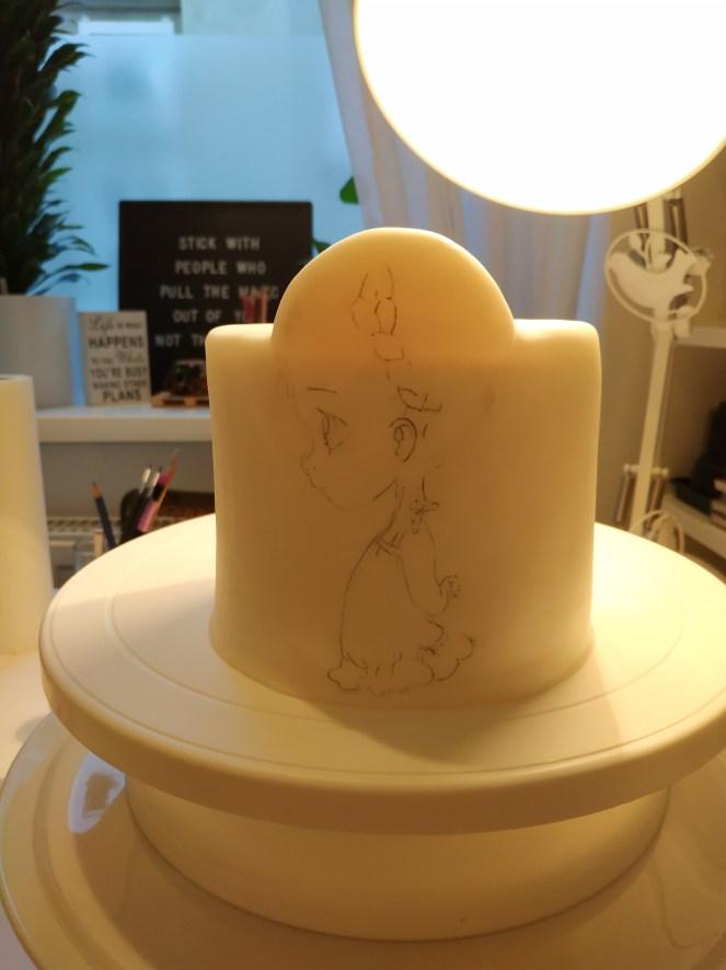 Übertragung Motiv auf Torte (Tortendummy aus Styropor)