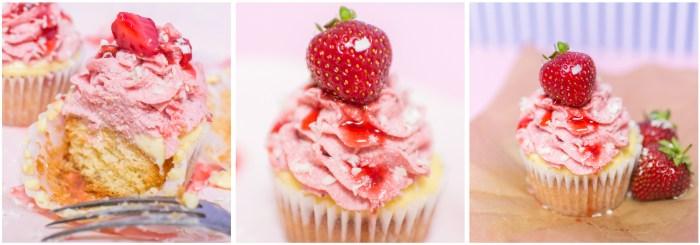 Erdbeer Cupcakes, Erdbeerbuttercreme, Buttercreme mit Erdbeeren, Buttercreme mit Früchten