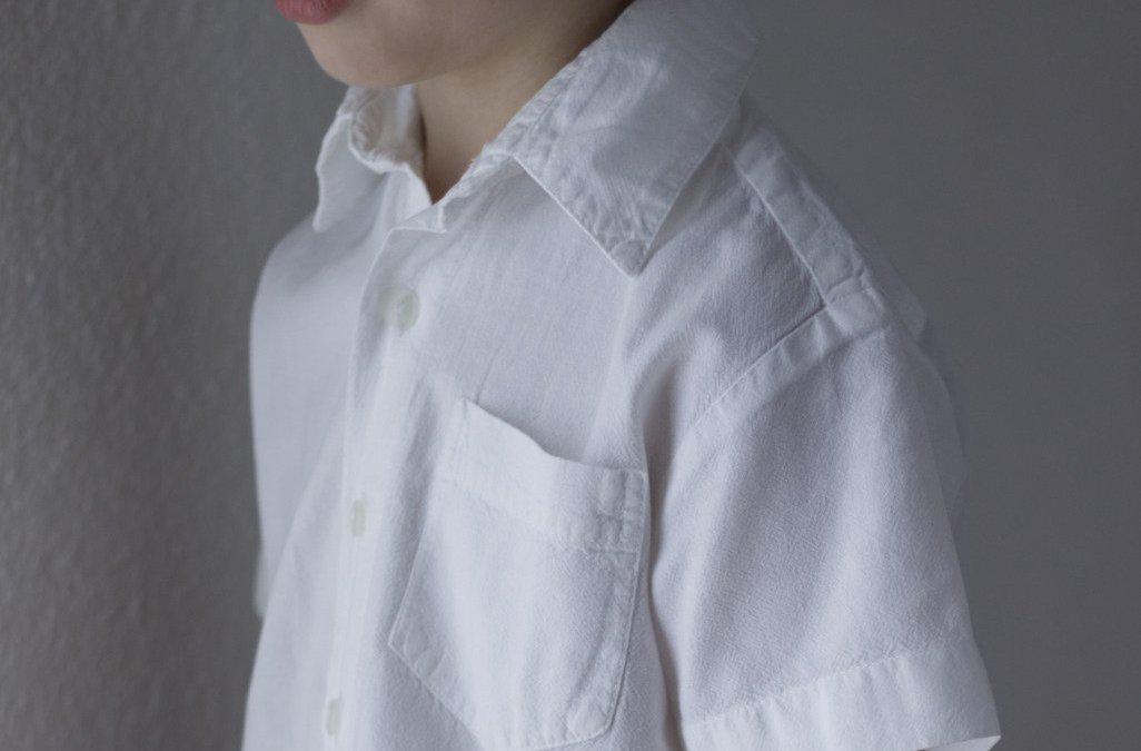 Upcycling Herrenhemd Kinderhemd Vorderseite Frau Fadegrad vb
