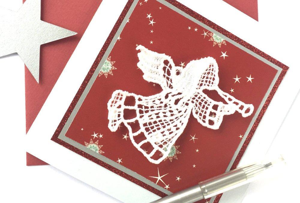 Engel-Stickerei für Weihnachtskarten oder als Baumschmuck