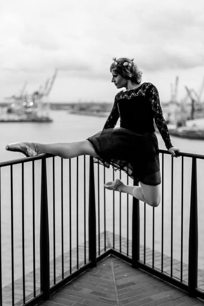 Aus Blick von der Elbphilharmonie beim Portraitshooting mit TerriBell