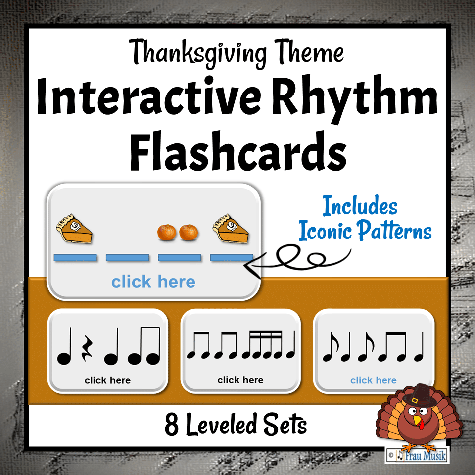 Thanksgiving Music Activities - Interactive Rhythm Pattern Flashcards for the Elementary Music Classroom