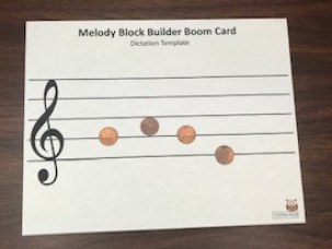 Pennies as notes on music staff