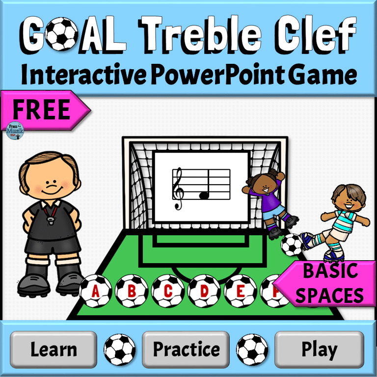 FREE Treble Clef Interactive Game - Soccer Theme