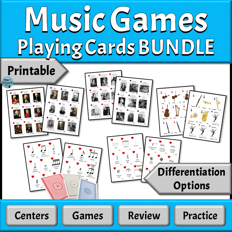 PRINTABLE Music Playing Cards for the Elementary Music Classroom | Games, Centers, Activities