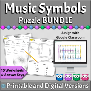 Music Symbols PRINTABLE & ONLINE DIGITAL Puzzles   Elementary & Middle School Music Classroom