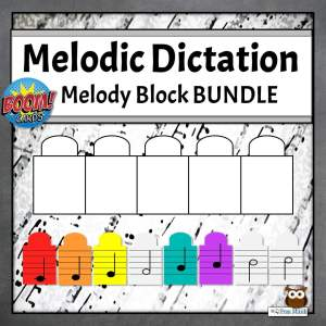 Melodic Dictation Blocks with music notes
