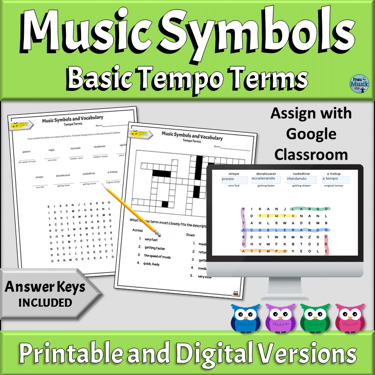 PRINTABLE & ONLINE DIGITAL Music Puzzles | Elementary & Middle School Music Classroom