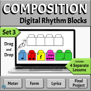 Music Composition Drag & Drop Rhythm Blocks, Set 3 | PowerPoint Version
