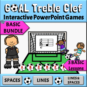 Treble Clef Interactive PowerPoint Game with Soccer Theme