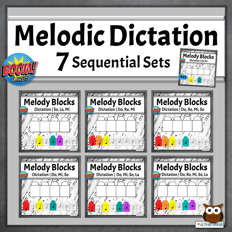 Melodic Dictation for the Elementary Music Classroom | 7 Sequential Sets of Boom Cards