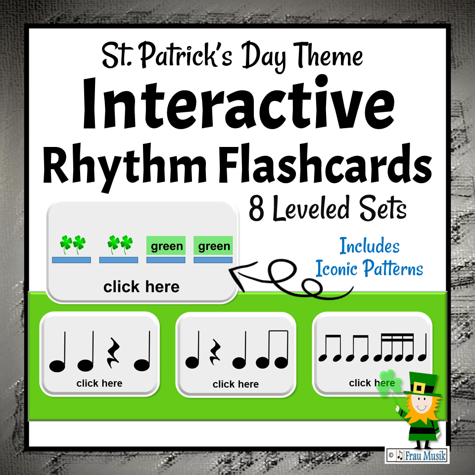 St. Patrick's Day Music Activities - Interactive Rhythm Pattern Flashcards for the Elementary Music Classroom