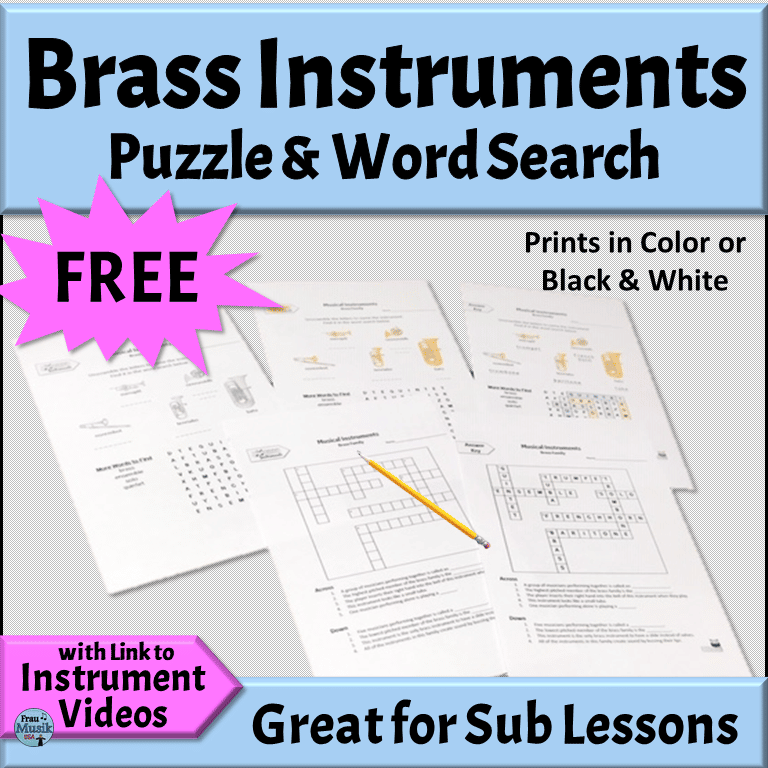 Elementary Music Online Activities for Teaching and Learning | Free Brass Instrument Puzzles