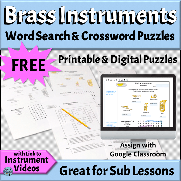 Free PRINTABLE & DIGITAL Music Puzzles | Instruments of the Orchestra - Brass Family