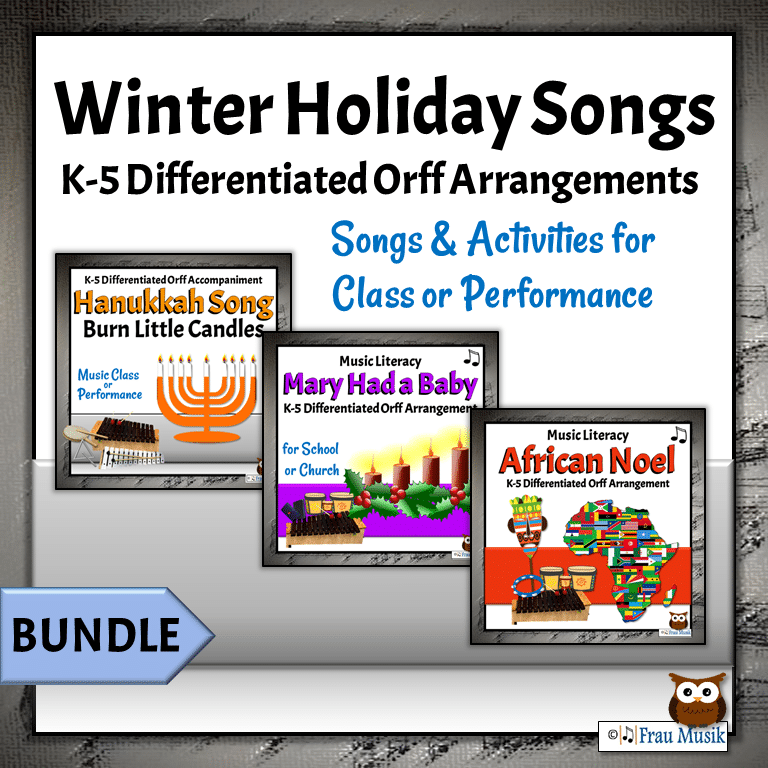 Diverse Winter Holiday Songs with Orff Accompaniments for  Elementary Music Classroom