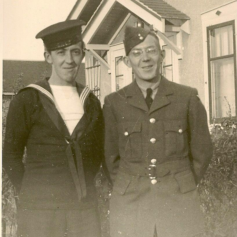 My dad the new sailor, with his brother Lyle