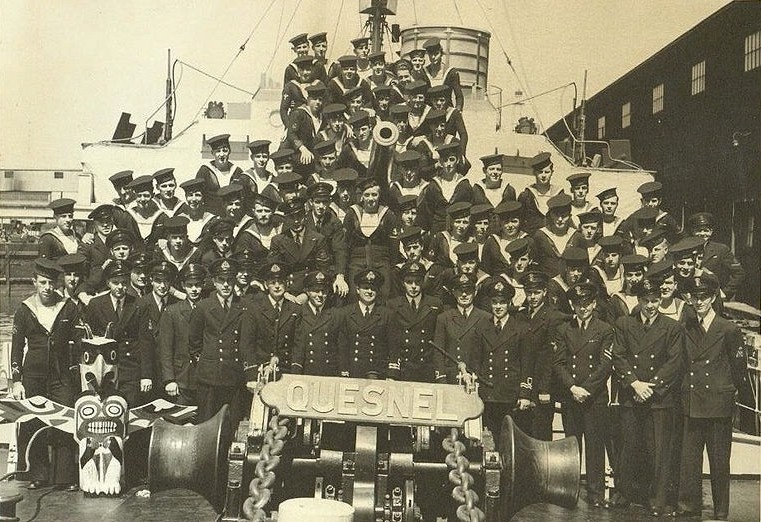 The crew of the HMCS Quesnel. Dad's somewhere in the middle, below and left of the gun. Photo courtesy of Bev Lundahl