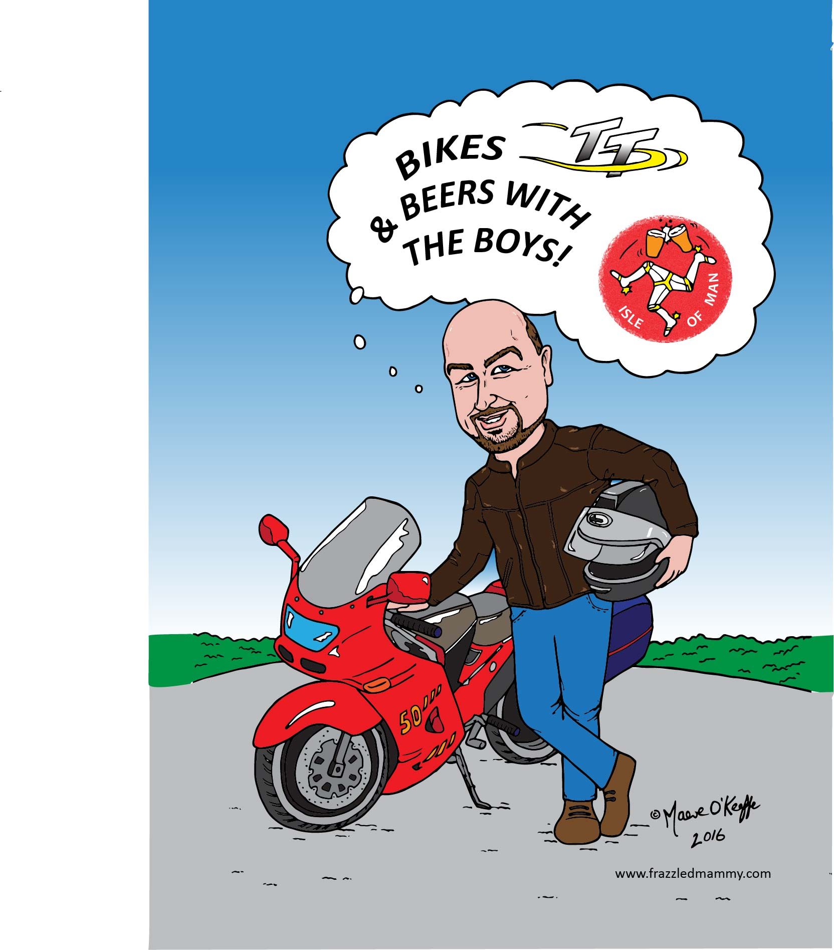 A caricature of John on a motorbike.