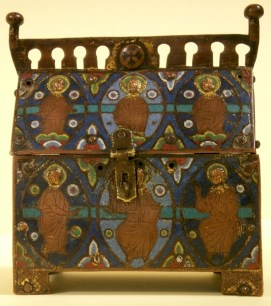 An early 13th century reliquary casket or chasse from the Limoges workshops. Discovered at Brooke Priory c.1805. Purchased with help from the Friends of the Museum and grants from Museums & Galleries Commission, Victoria and Albert Museum's Purchase Grant Fund and National Art Collection Fund.