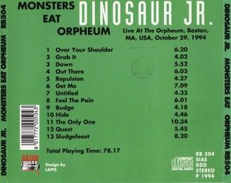 Monsters Eat Orpheum - CD Back