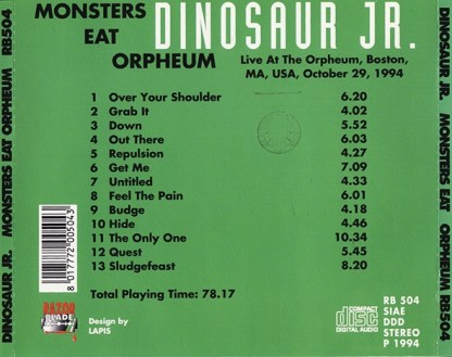 Monsters Eat Orpheum - CD Back
