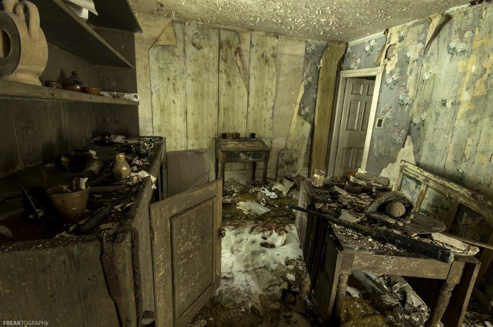 A very interesting room in this long abandoned house in Ontario. Many antique items found in this room.