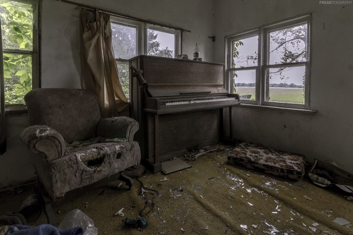 A chair with a smile inside an abandoned ontario house