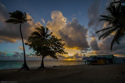 Freaktography, clouds, dominican republic, freaktography.com, huts, ocean, punta cana, sky, sunrise, travel, trees, vacation, water