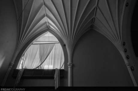 Freaktography, abandoned, abandoned photography, abandoned places, altar, black and white, church, church ceiling, creepy, curtains, decay, derelict, haunted, haunted places, lines, mono, photography, rule of thirds, urban exploration, urban exploration photography, urban explorer, urban exploring